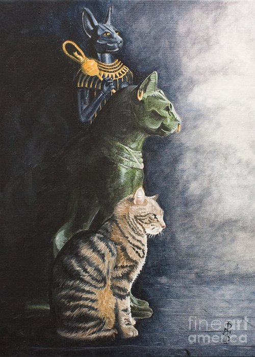 Cat Jake Bastet Egyptian Statues Gods Pet Portrait Greeting Card featuring the painting Jake And The Ancestors-pet Portrait by Pauline Sharp
