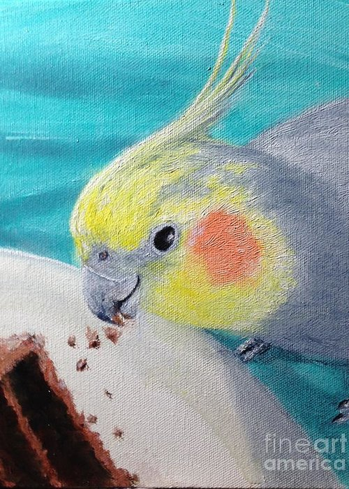 Cockatiel Pet Bird Greeting Card featuring the painting Jake And The Cake by Diane Donati