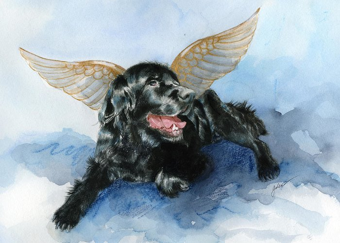 Dog Greeting Card featuring the painting Jake Angel by Galen Hazelhofer