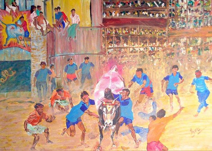 Jallikattu Greeting Card featuring the painting Jallikattu- The Bull Fight by Narayan Iyer
