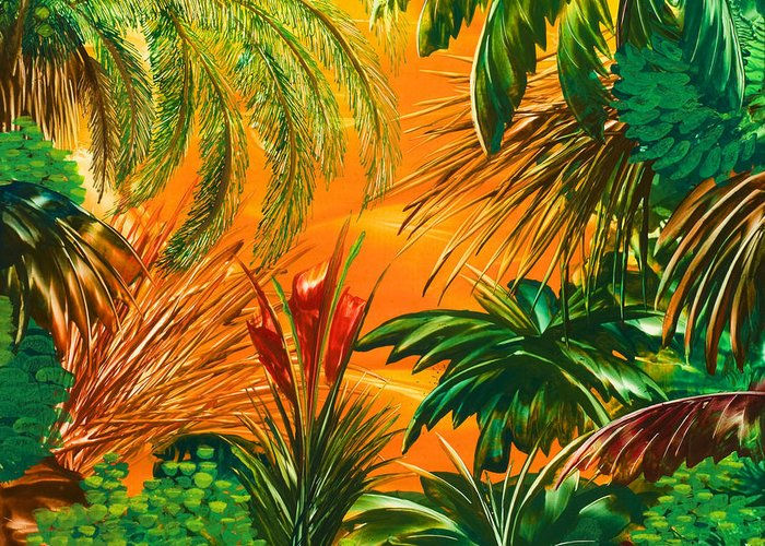 Jungle Greeting Card featuring the painting jamaica III by Danita Cole