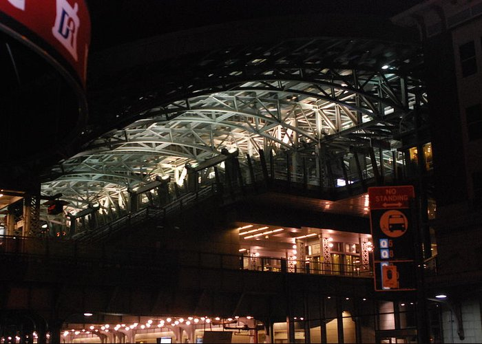 Landmark Greeting Card featuring the photograph Jamaica Station In Lights by Renee Michele Breeden