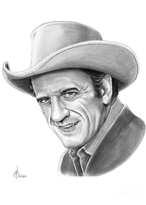 Pencil Greeting Card featuring the drawing James Arnes by Murphy Elliott