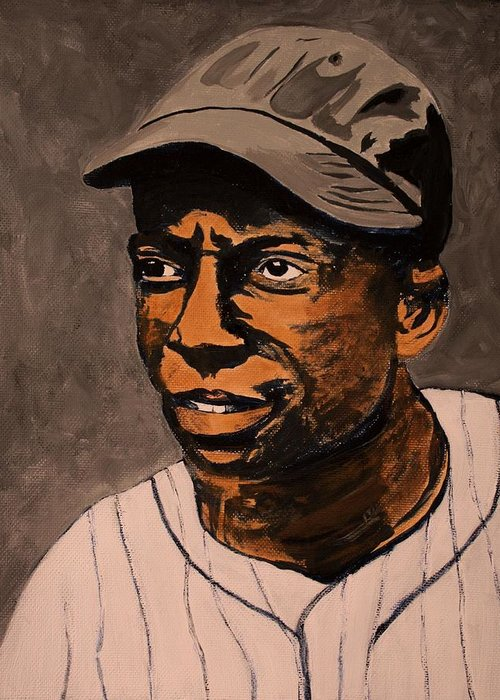 James Bell Greeting Card featuring the painting James Cool Papa Bell by Ralph LeCompte