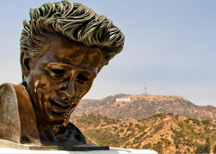 550 Greeting Card featuring the photograph James Dean - Griffith Observatory by Natasha Bishop