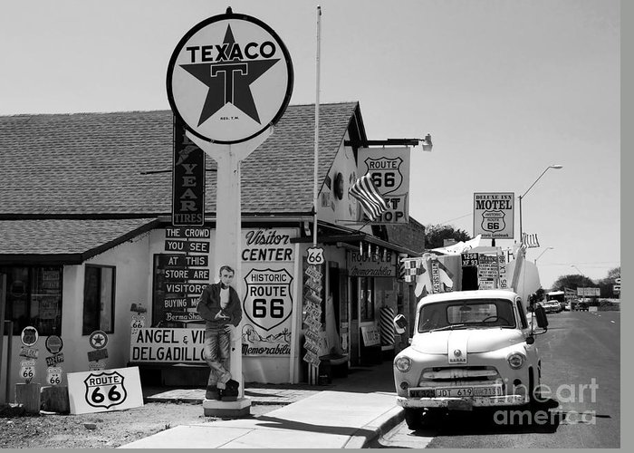 James Dean Greeting Card featuring the photograph James Dean On Route 66 by David Lee Thompson