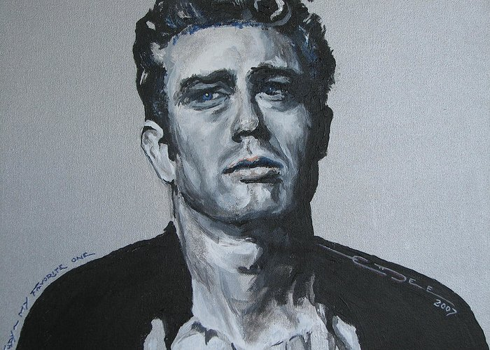 James Dean Greeting Card featuring the painting James Dean One by Eric Dee