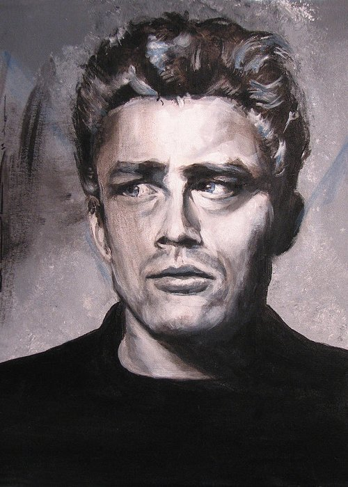 James Dean Greeting Card featuring the painting James Dean Two by Eric Dee