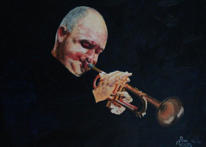 Portrait Greeting Card featuring the painting James Morrison In Action  Autographed by Dave Manning