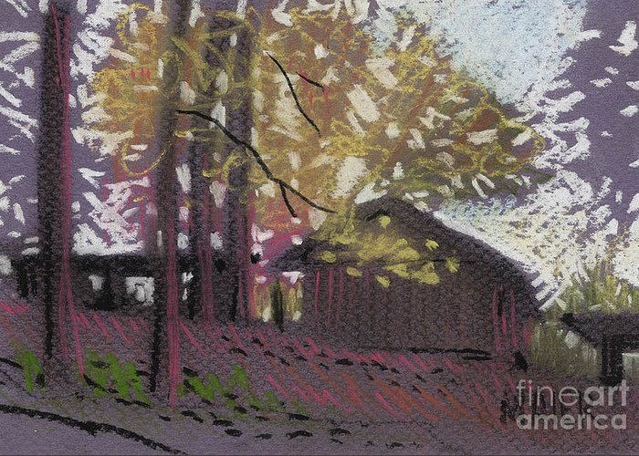 Pastel Greeting Card featuring the drawing James's Barns 9 by Donald Maier
