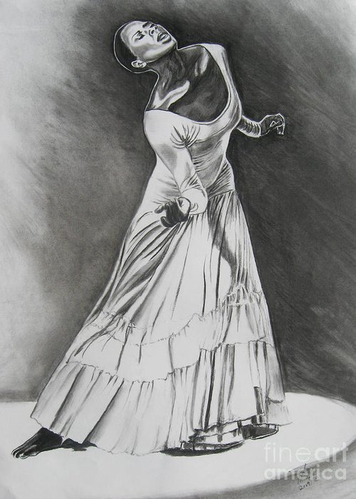 Charcoal Painting Greeting Card featuring the drawing Jamison by Toni Thorne