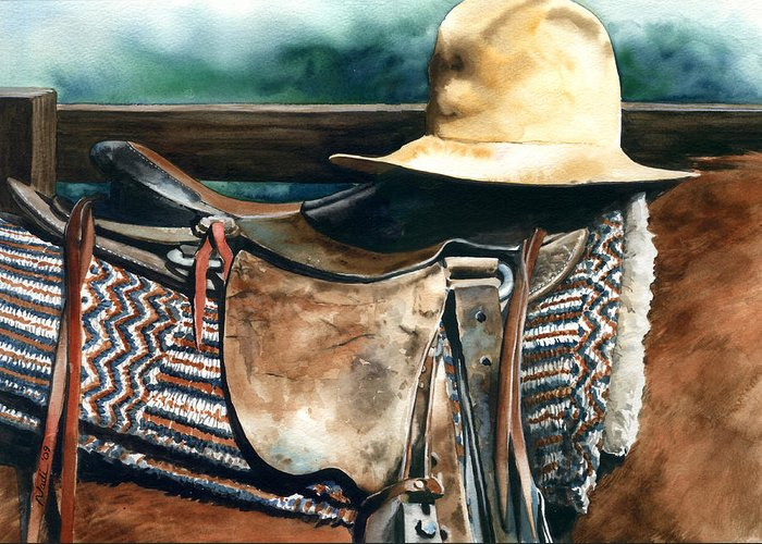 Saddle Greeting Card featuring the painting Janessa's Hat by Nadi Spencer