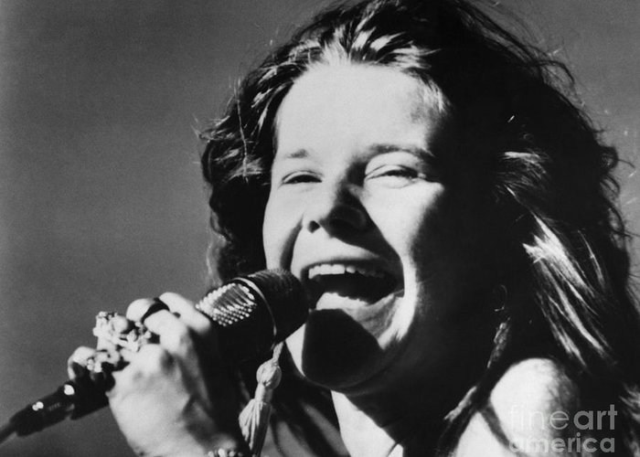 1960s Greeting Card featuring the photograph Janis Joplin (1943-1970) by Granger
