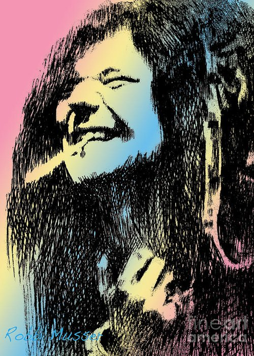 Janis Greeting Card featuring the drawing Janis Joplin by Robbi Musser