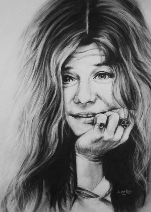 Janis Joplin Drawing Painting Charcoal Greeting Card featuring the drawing Janis Joplin by Steve Hunter