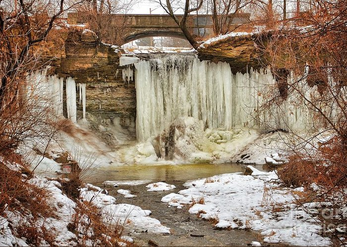 Green Bay Greeting Card featuring the photograph January Melt at Wequiock Falls by Ever-Curious Photography