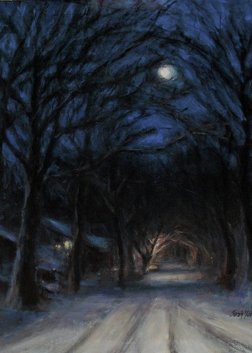 Winter Greeting Card featuring the painting January Moon by Sarah Yuster