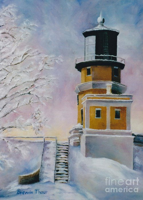 Lighthouse Greeting Card featuring the painting Januarys Light by Brenda Thour