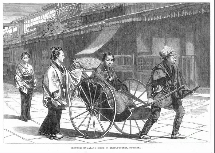 1874 Greeting Card featuring the photograph Japan: Rickshaw, 1874 by Granger