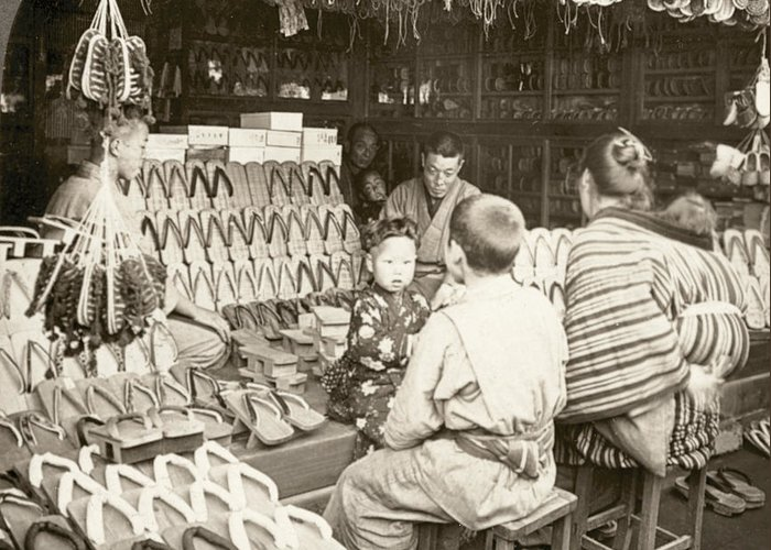 20th Century Greeting Card featuring the photograph Japan: Shoe Store, C1910 by Granger