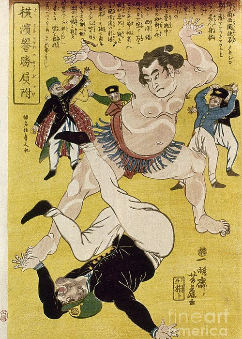 1861 Greeting Card featuring the photograph Japan: Sumo Wrestling by Granger