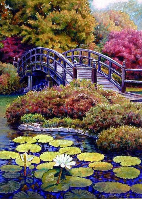 Japanese Bridge Greeting Card featuring the painting Japanese Bridge by John Lautermilch