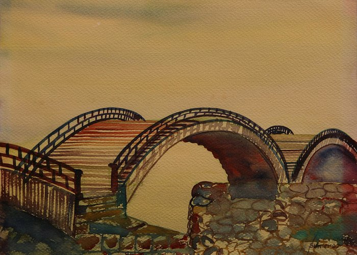 Watercolor Greeting Card featuring the painting Japanese Bridge by Rosencruz Sumera