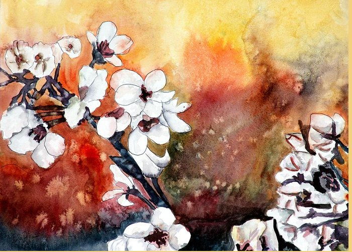 Watercolor Greeting Card featuring the painting Japanese cherry blossom abstract flowers by Derek Mccrea