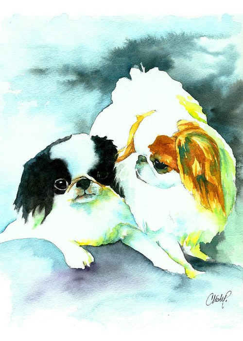 Dog Art Greeting Card featuring the painting Japanese Chin Dog by Christy Freeman