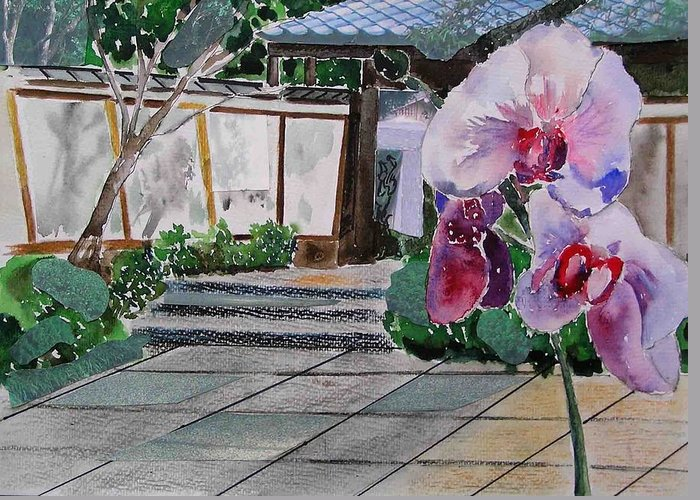 Garden Greeting Card featuring the painting Japanese Garden by Evguenia Men