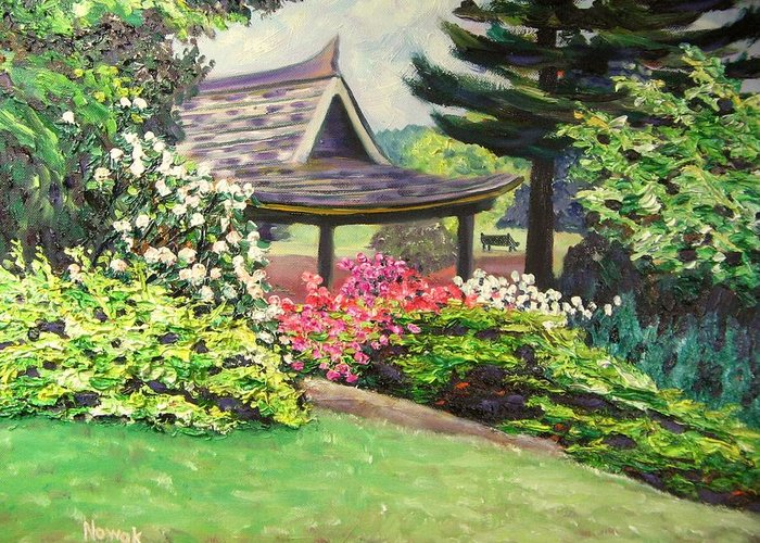 Garden Greeting Card featuring the painting Japanese Garden-spring Blossoms by Richard Nowak