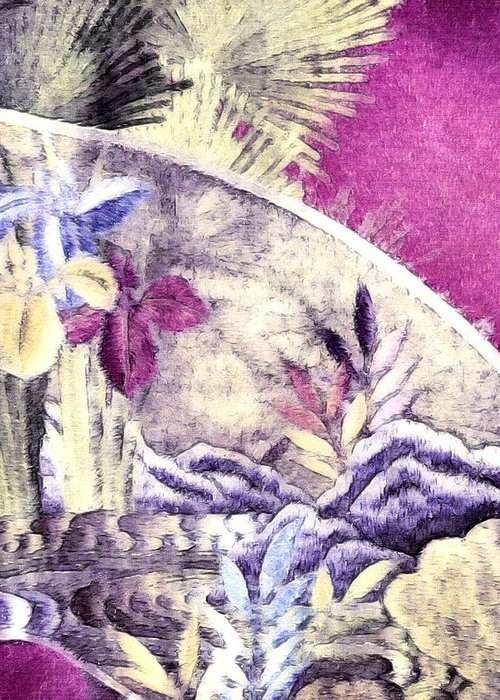 Japanese Iris Kimono Series Greeting Card featuring the photograph Japanese Iris - Kimono Series by Susan Maxwell Schmidt
