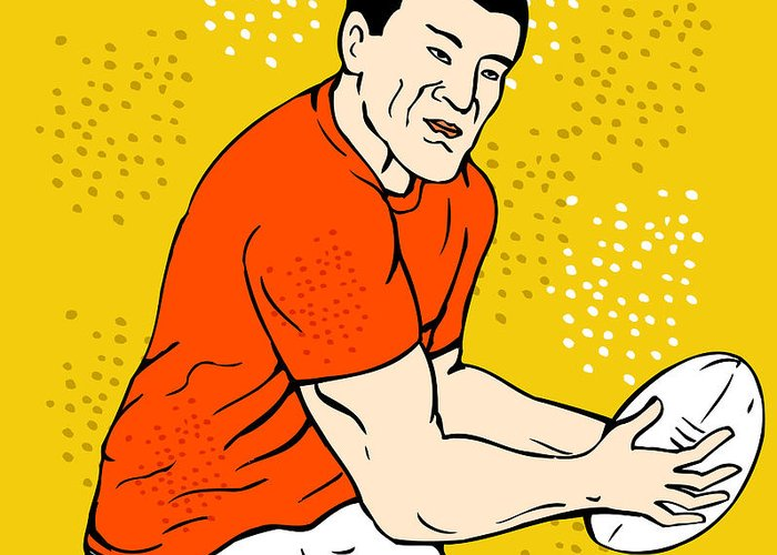 Rugby Greeting Card featuring the digital art Japanese Rugby Player Passing Ball by Aloysius Patrimonio
