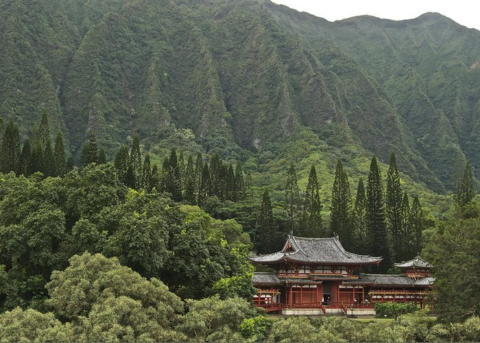 Oahu Greeting Card featuring the photograph Japanese Temple by Michael Peychich
