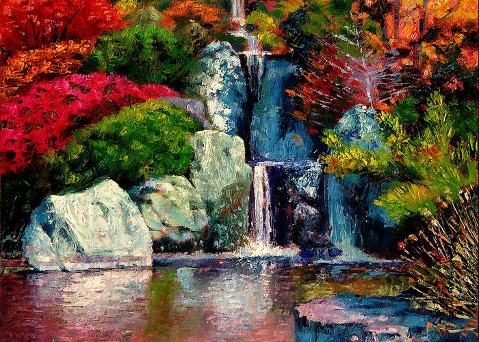 Japanese Garden Greeting Card featuring the painting Japanese Waterfall by John Lautermilch