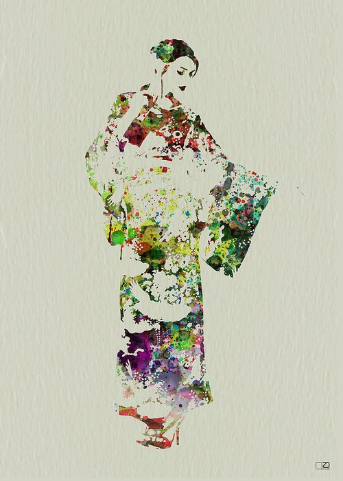 Kimono Greeting Card featuring the painting Japanese Woman In Kimono by Naxart Studio