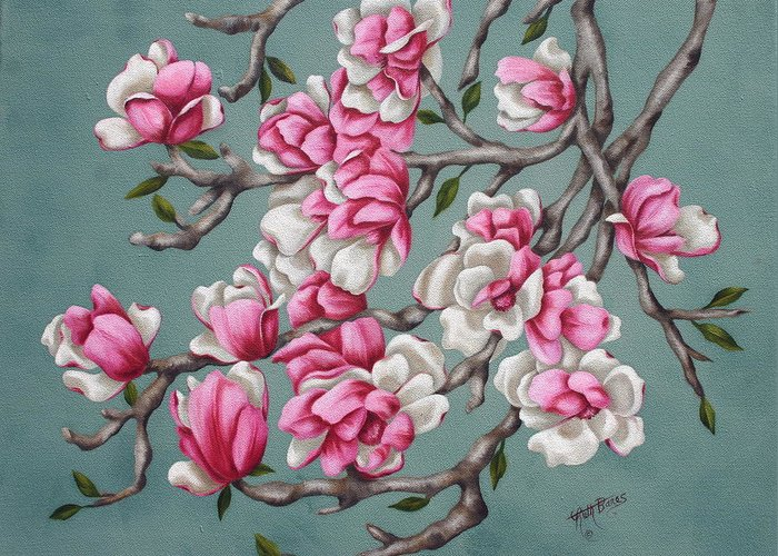 Oil Greeting Card featuring the painting Japenese Magnolia by Ruth Bares