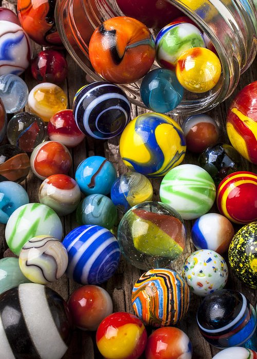 Jar Greeting Card featuring the photograph Jar Of Marbles by Garry Gay