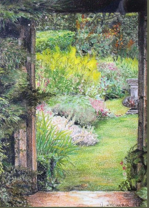 Landscape Greeting Card featuring the drawing Jardin by Muriel Dolemieux