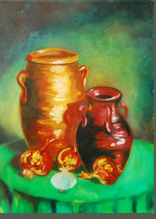 Jars Greeting Card featuring the painting Jars by Matthew Doronila