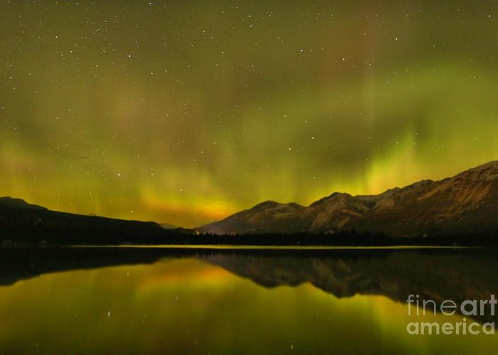 Canadian Northern Lights Greeting Card featuring the photograph Jasper Energy Swirls by Adam Jewell
