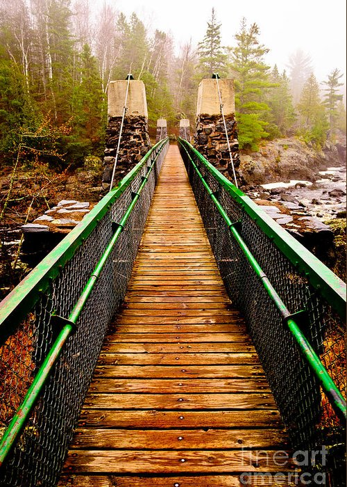 Jay Cooke Greeting Card featuring the photograph Jay Cooke Swinging Bridge In Fog by Ever-Curious Photography