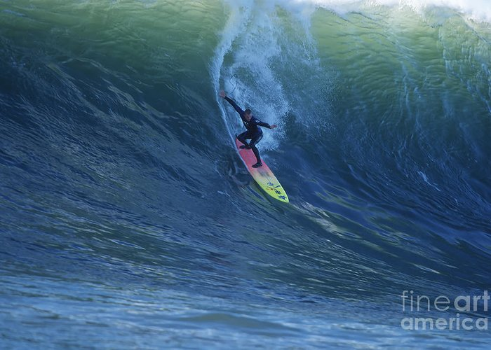 Mavericks Greeting Card featuring the photograph Jay Drops In At Mavericks by Stan and Anne Foster