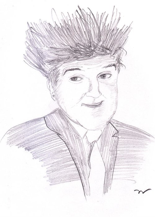 Graphite Greeting Card featuring the drawing Jay Leno Hair Day by M Valeriano