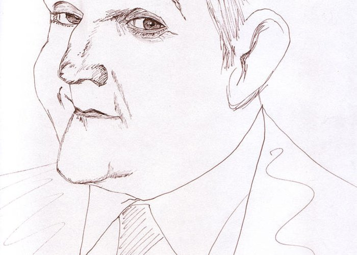 Jay Leno Greeting Card featuring the drawing Jay Leno by M Valeriano