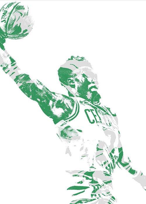 Jaylen Brown Greeting Card featuring the mixed media Jaylen Brown Boston Celtics Pixel Art 11 by Joe Hamilton