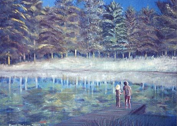 Woodland Lake Greeting Card featuring the painting Jays Lake by Fred Jinkins