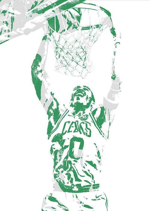 Jayson Tatum Greeting Card featuring the mixed media Jayson Tatum Boston Celtics Pixel Art 10 by Joe Hamilton