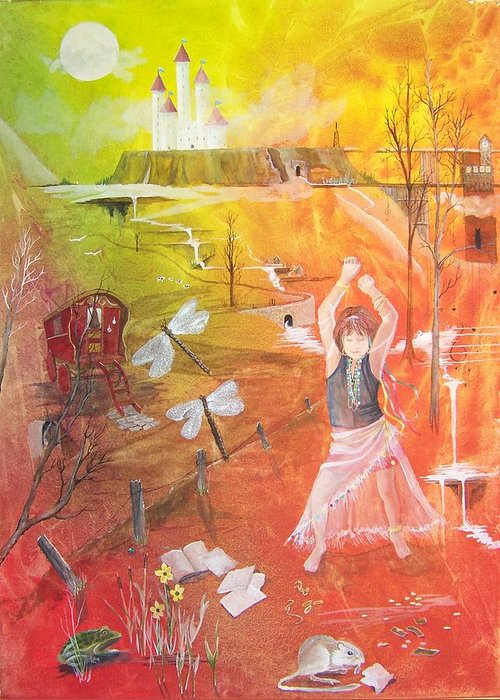 Gypsy Greeting Card featuring the painting Jayzen - The Little Gypsy Dancer by Jackie Mueller-Jones