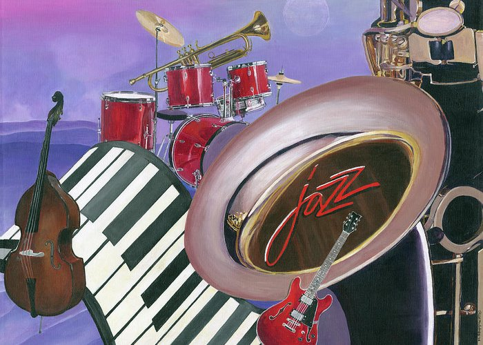 Jazz Greeting Card featuring the painting Jazz At Sunset by Heidi Meulenberg